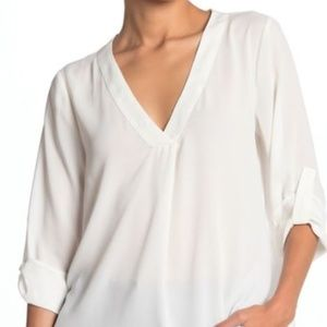 Lush Split Neck Roll Sleeve Tunic Blouse
